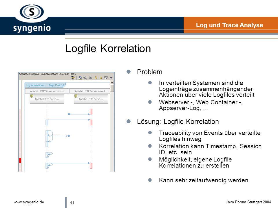 Logfile Korrelation Problem Lösung: Logfile Korrelation