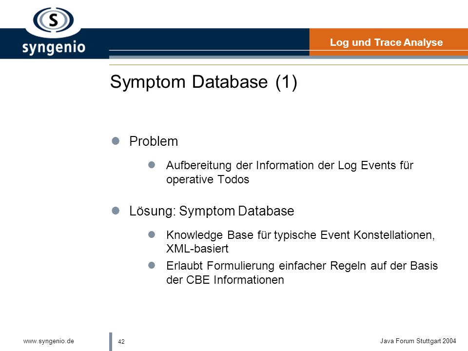 Symptom Database (1) Problem Lösung: Symptom Database