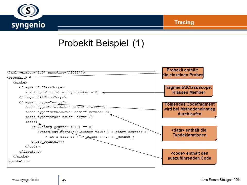 Probekit Beispiel (1) Tracing Probekit enthält die einzelnen Probes