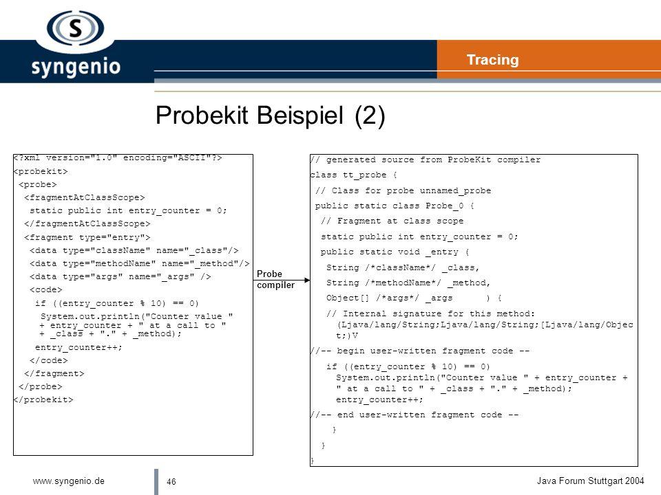 Probekit Beispiel (2) Tracing