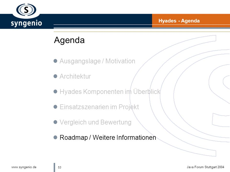 Agenda Ausgangslage / Motivation Architektur