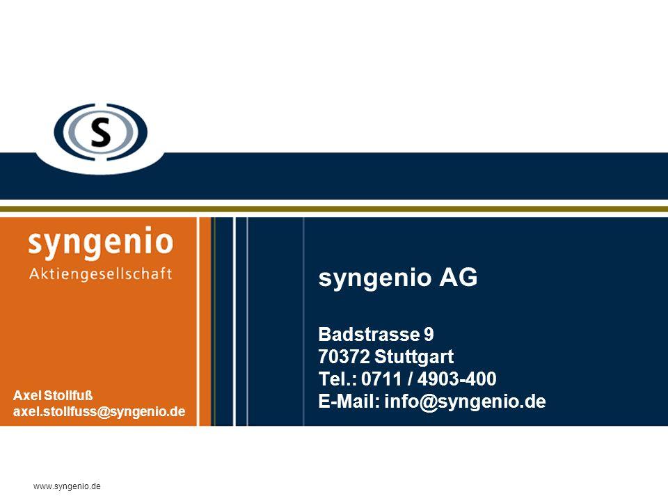 syngenio AG Badstrasse 9 70372 Stuttgart Tel