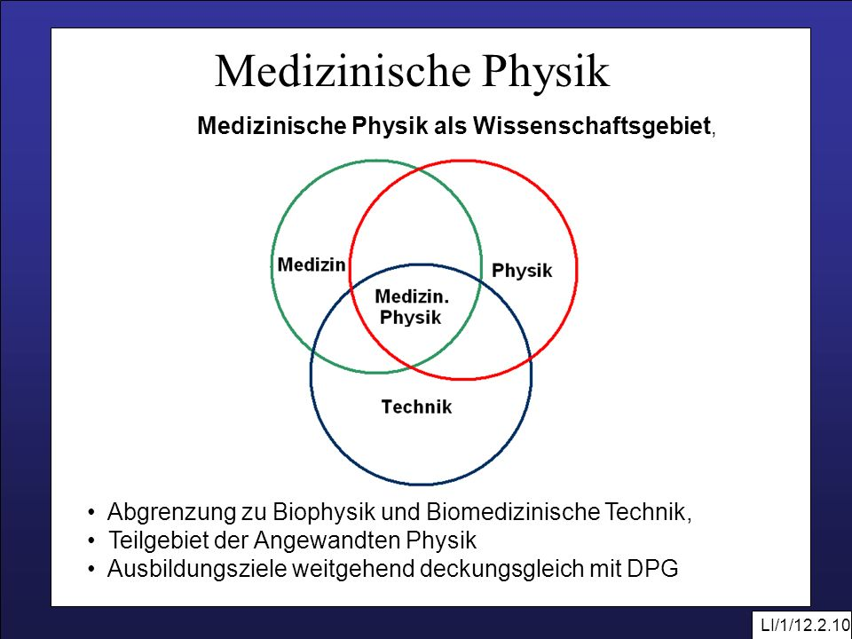 Medizinische Physik als Wissenschaftsgebiet,