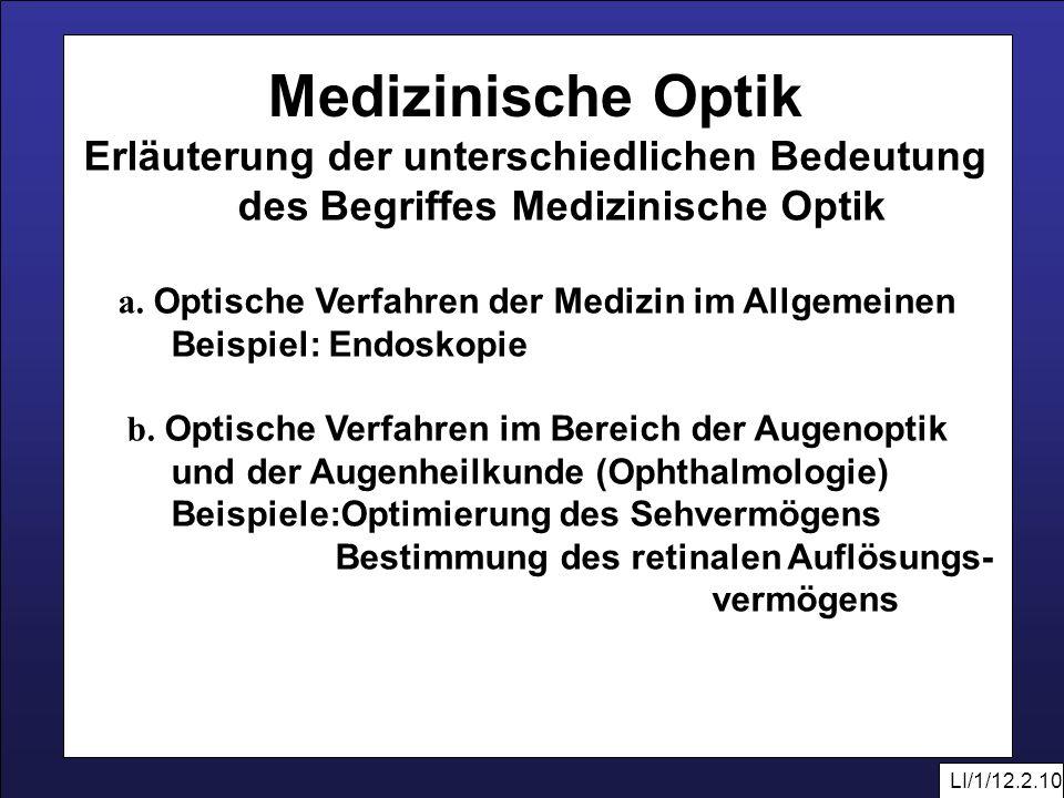 Medizinische Optik des Begriffes Medizinische Optik