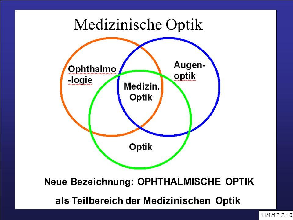 Neue Bezeichnung: OPHTHALMISCHE OPTIK