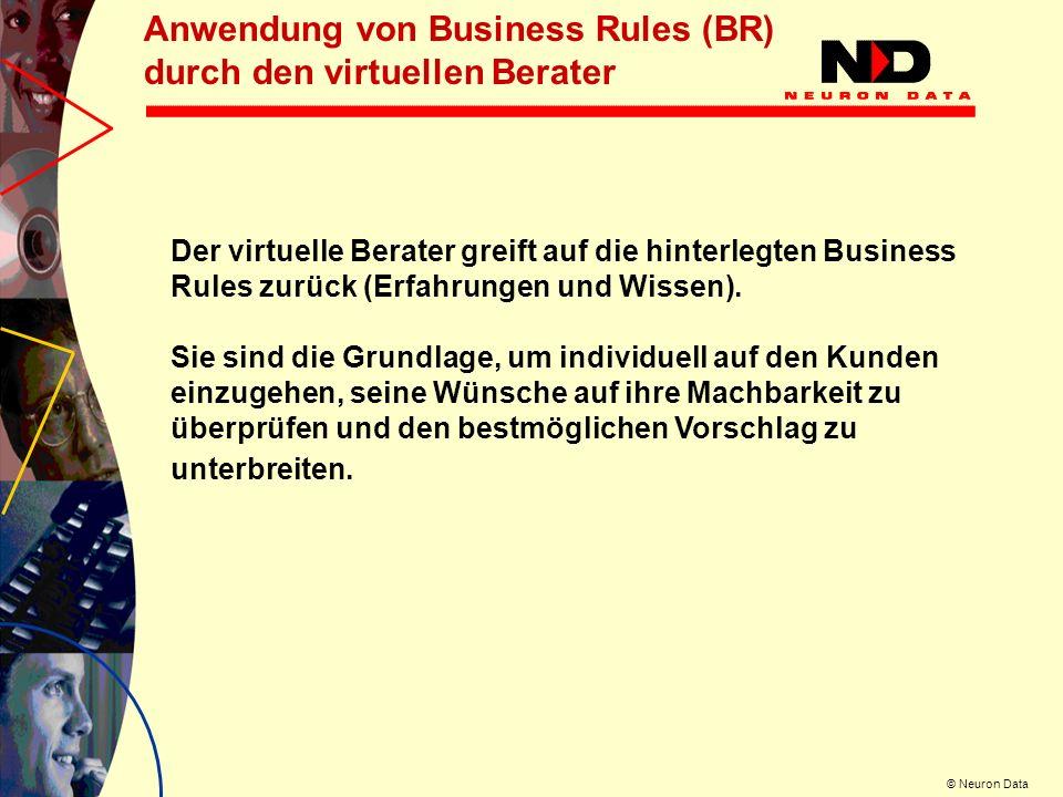Anwendung von Business Rules (BR) durch den virtuellen Berater