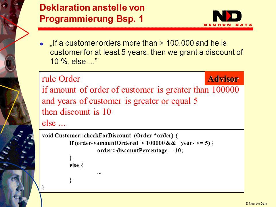 Deklaration anstelle von Programmierung Bsp. 1