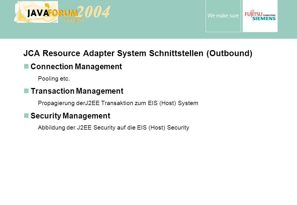 JCA Resource Adapter System Schnittstellen (Outbound)