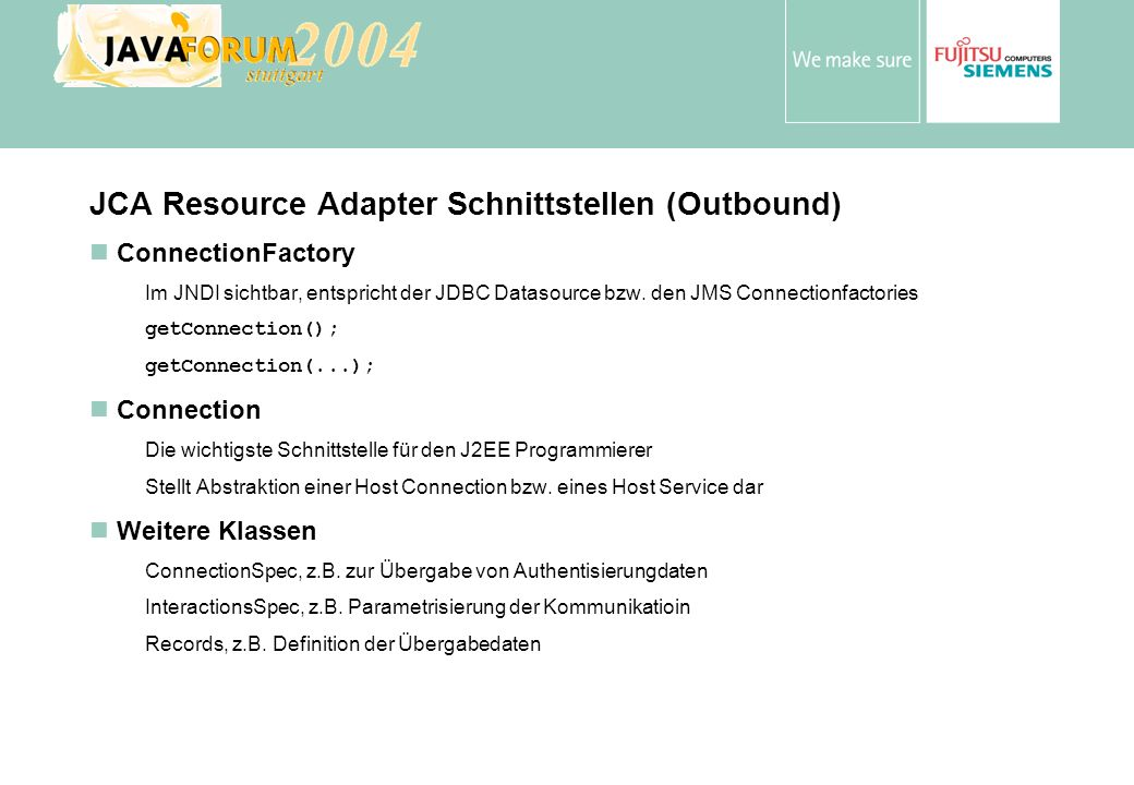 JCA Resource Adapter Schnittstellen (Outbound)