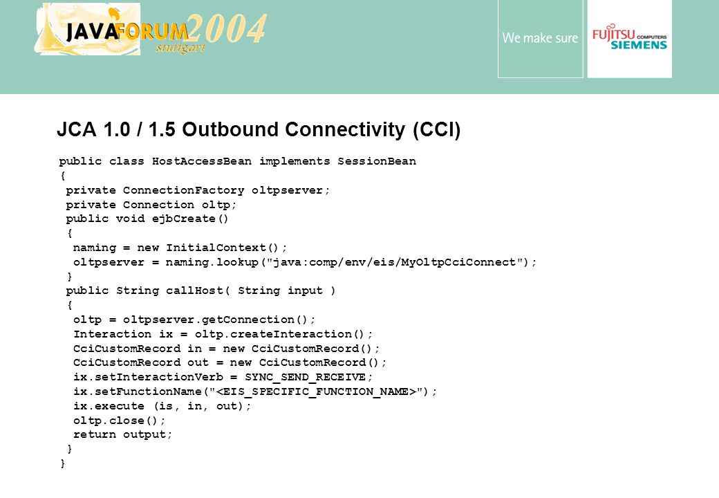 JCA 1.0 / 1.5 Outbound Connectivity (CCI)