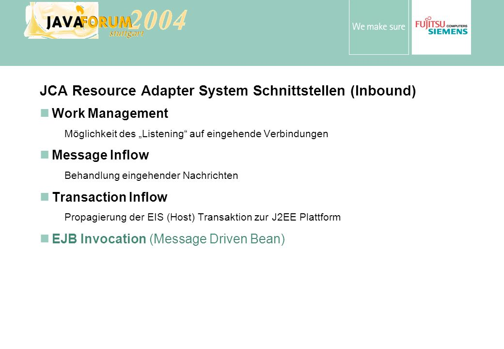 JCA Resource Adapter System Schnittstellen (Inbound)