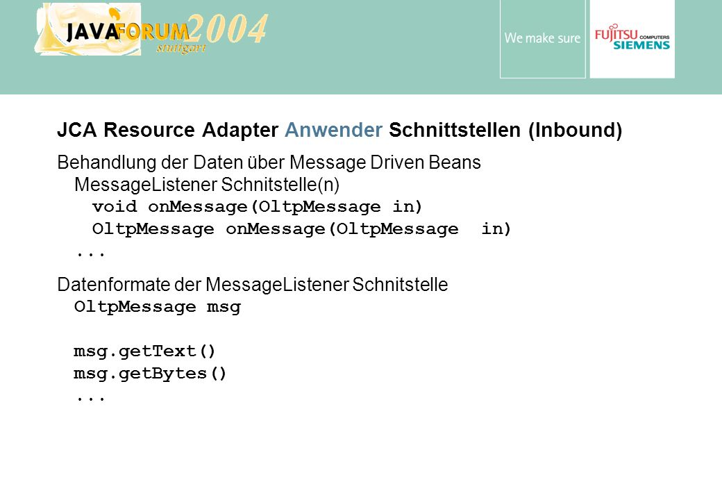 JCA Resource Adapter Anwender Schnittstellen (Inbound)