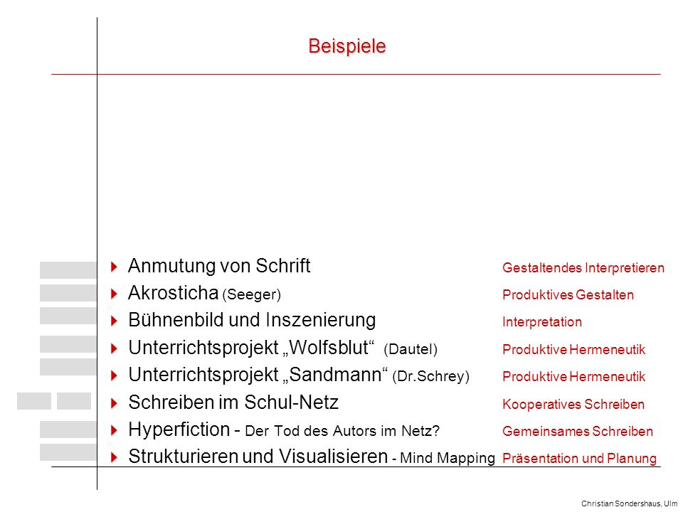 Beispiele  Anmutung von Schrift Gestaltendes Interpretieren.  Akrosticha (Seeger) Produktives Gestalten.