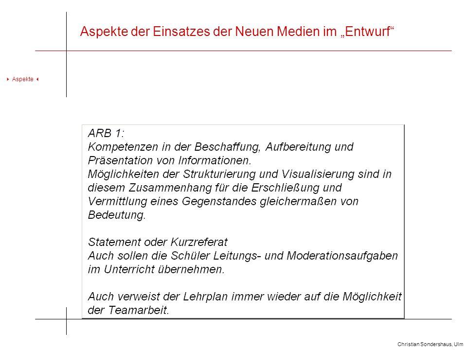 """Aspekte der Einsatzes der Neuen Medien im """"Entwurf"""