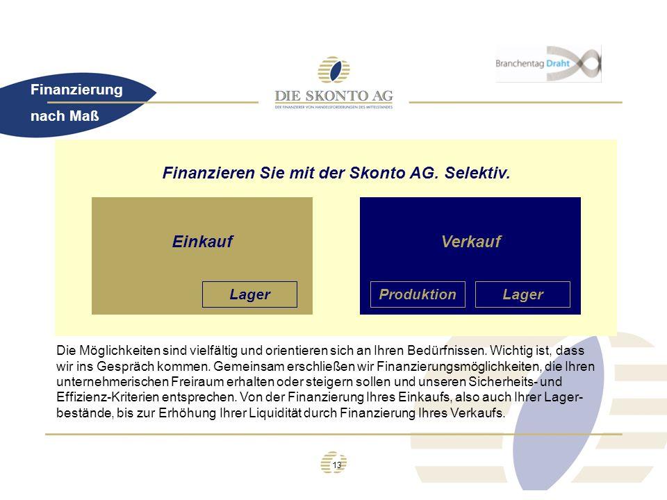 Finanzieren Sie mit der Skonto AG. Selektiv.