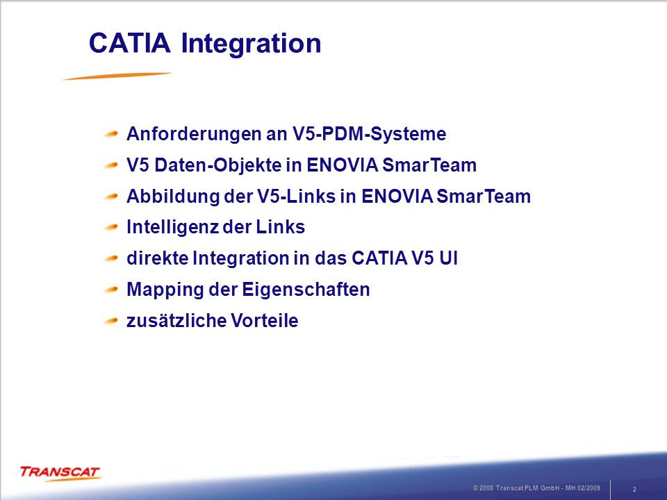 CATIA Integration Anforderungen an V5-PDM-Systeme