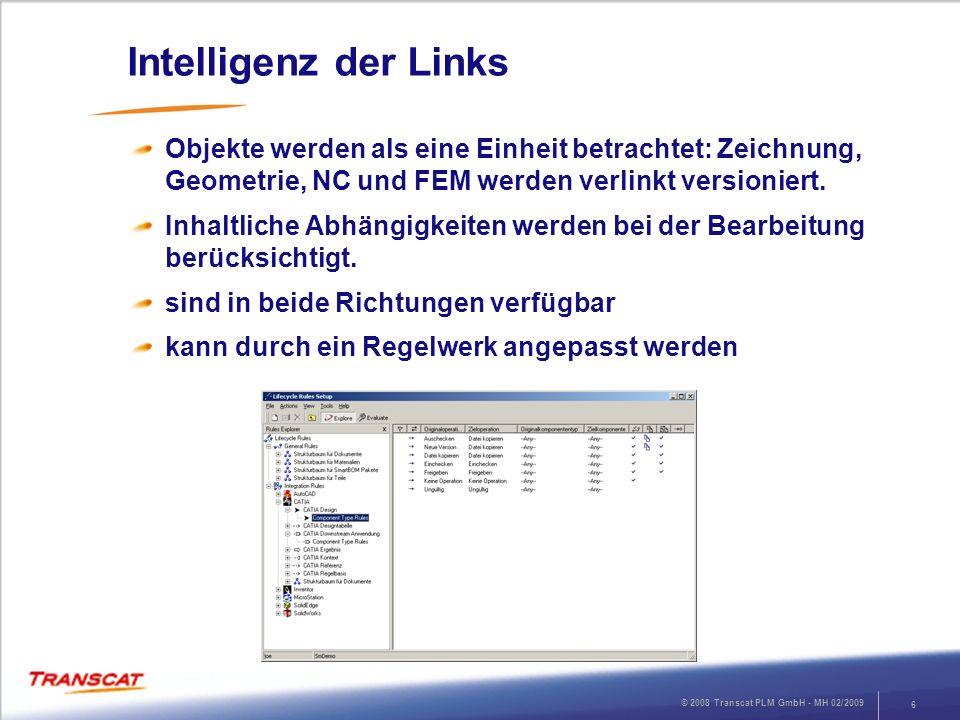 Intelligenz der Links Objekte werden als eine Einheit betrachtet: Zeichnung, Geometrie, NC und FEM werden verlinkt versioniert.