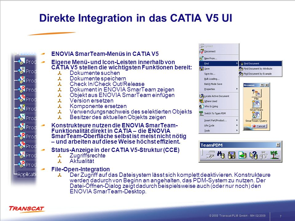 Direkte Integration in das CATIA V5 UI