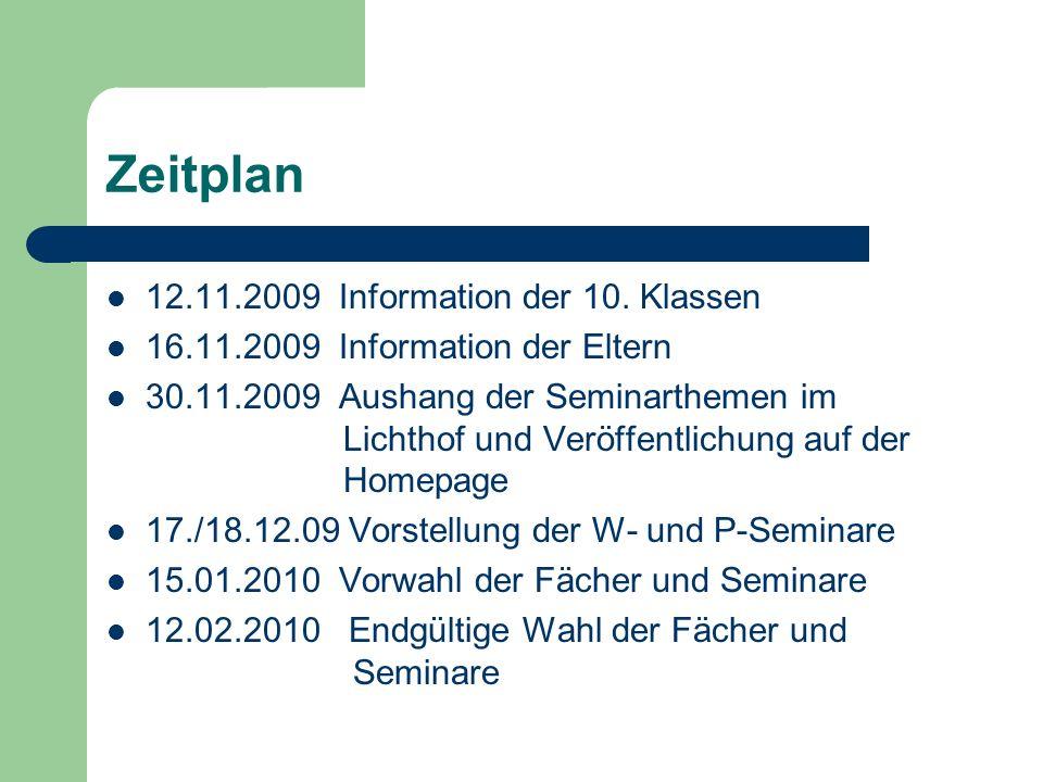 Zeitplan 12.11.2009 Information der 10. Klassen