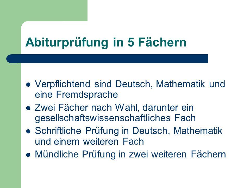 Abiturprüfung in 5 Fächern