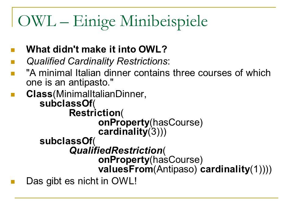 OWL – Einige Minibeispiele
