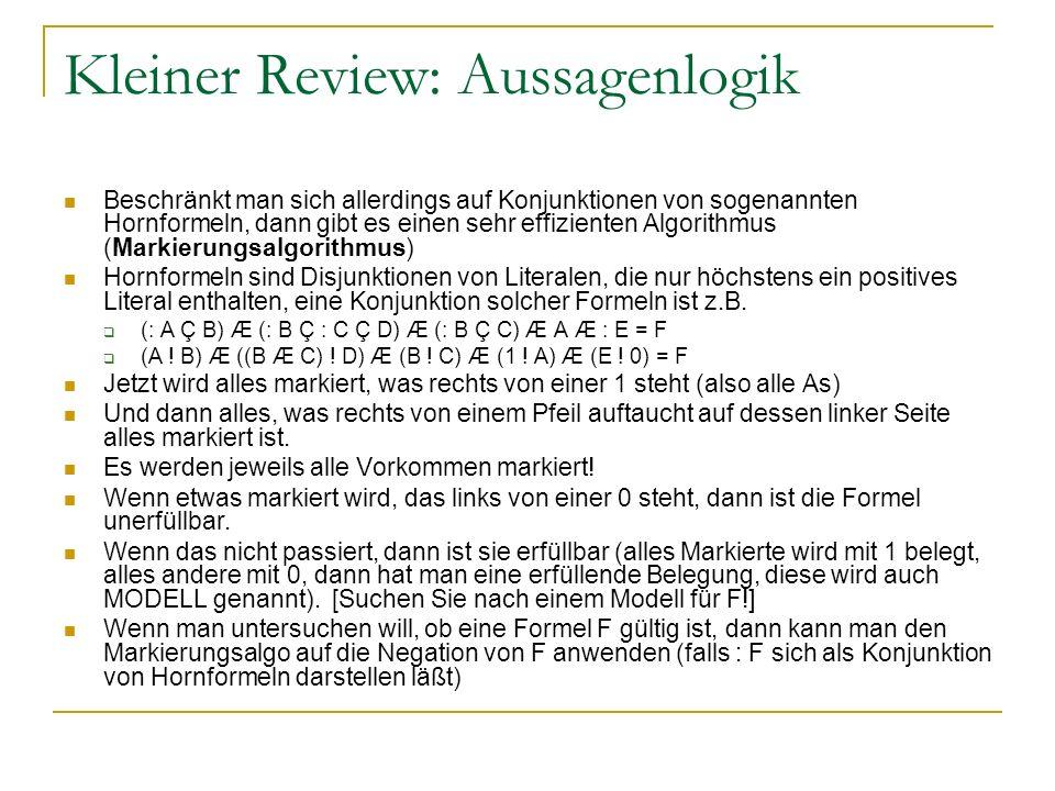 Kleiner Review: Aussagenlogik