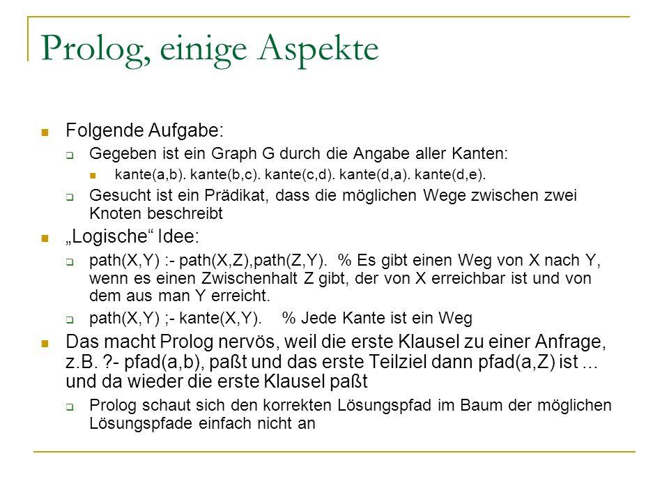 """Prolog, einige Aspekte Folgende Aufgabe: """"Logische Idee:"""