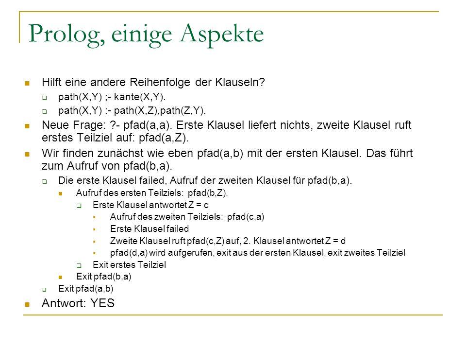 Prolog, einige Aspekte Antwort: YES