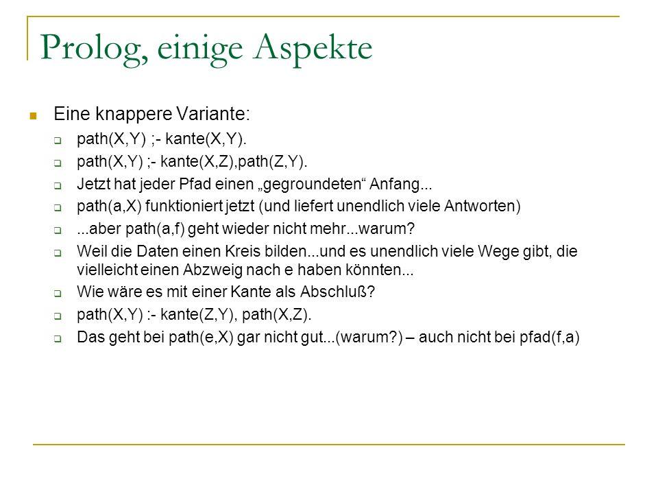 Prolog, einige Aspekte Eine knappere Variante: