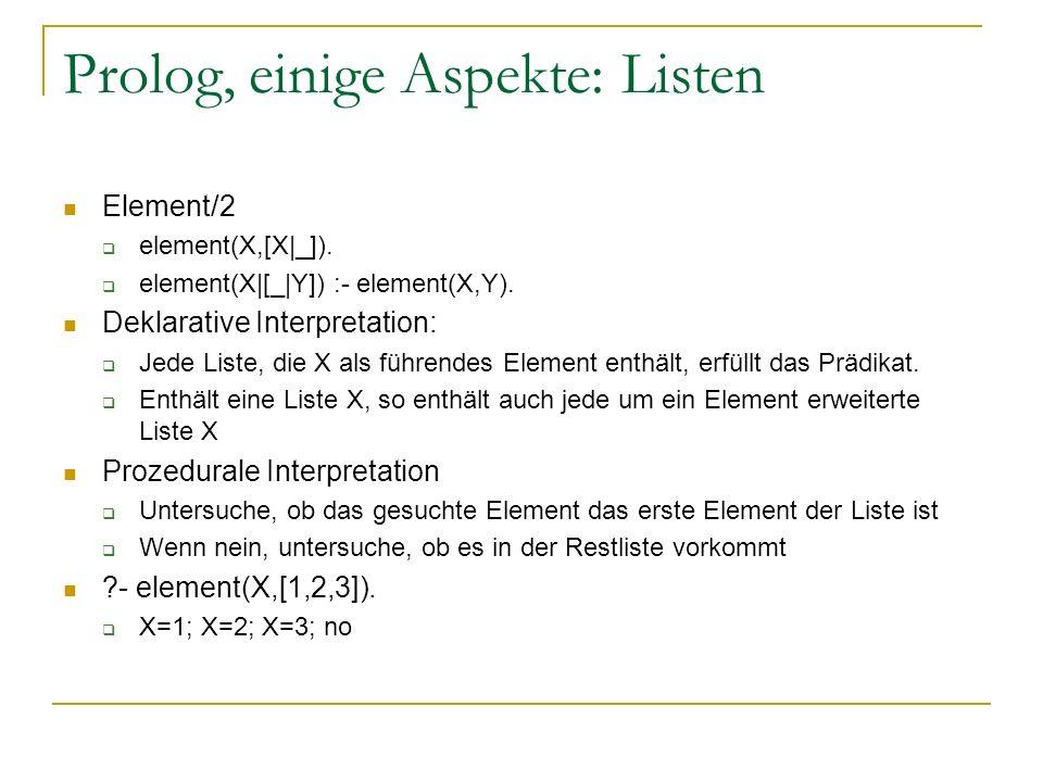 Prolog, einige Aspekte: Listen