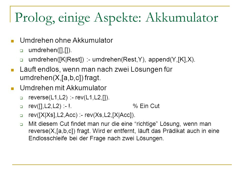 Prolog, einige Aspekte: Akkumulator