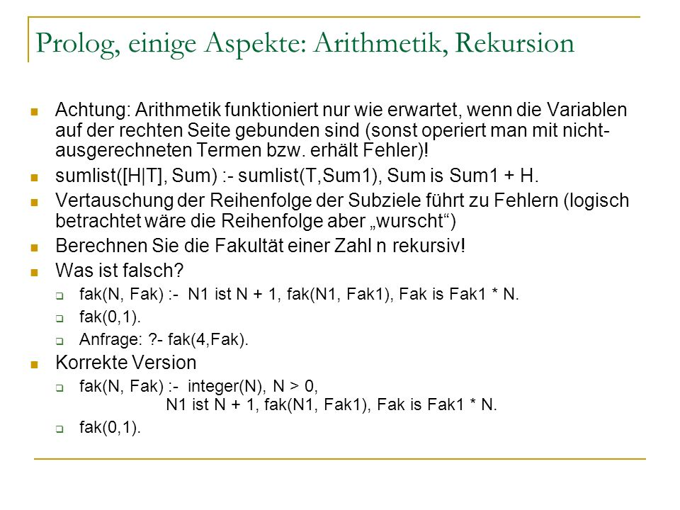 Prolog, einige Aspekte: Arithmetik, Rekursion