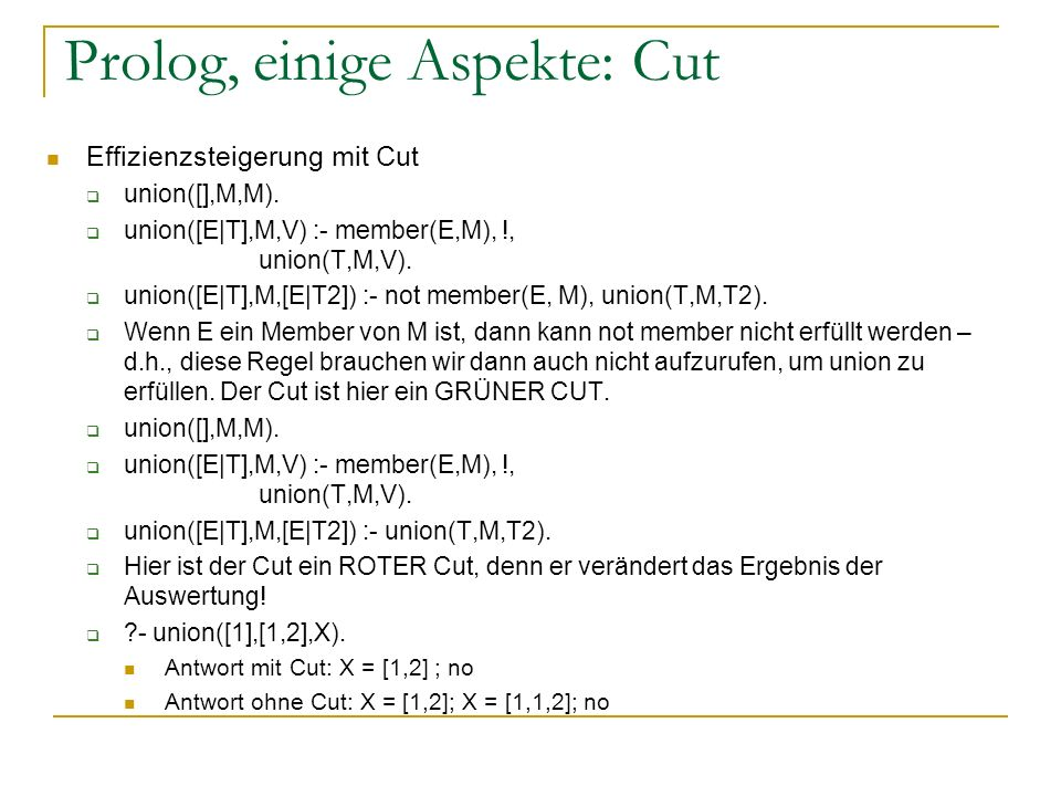Prolog, einige Aspekte: Cut