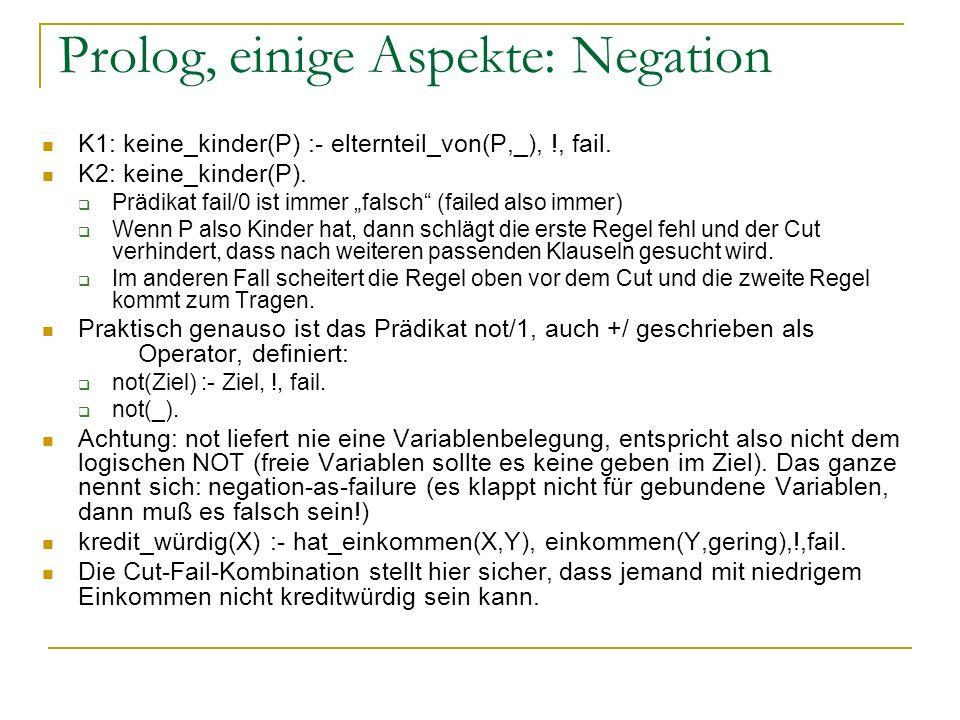 Prolog, einige Aspekte: Negation