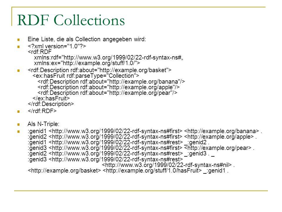 RDF Collections Eine Liste, die als Collection angegeben wird: