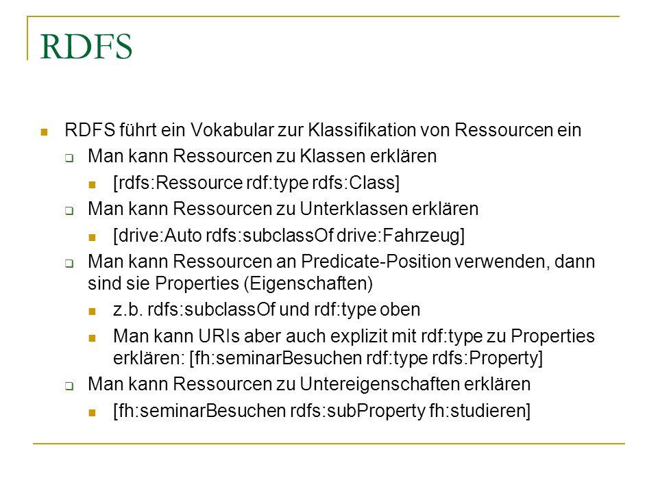 RDFS RDFS führt ein Vokabular zur Klassifikation von Ressourcen ein