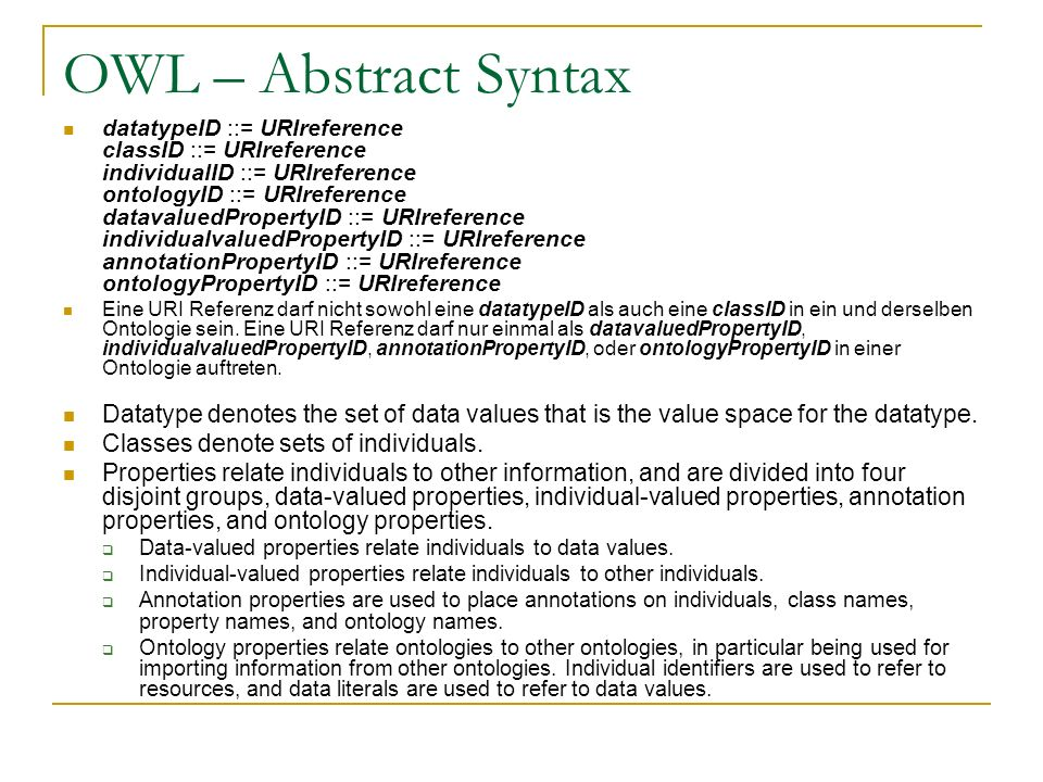 OWL – Abstract Syntax