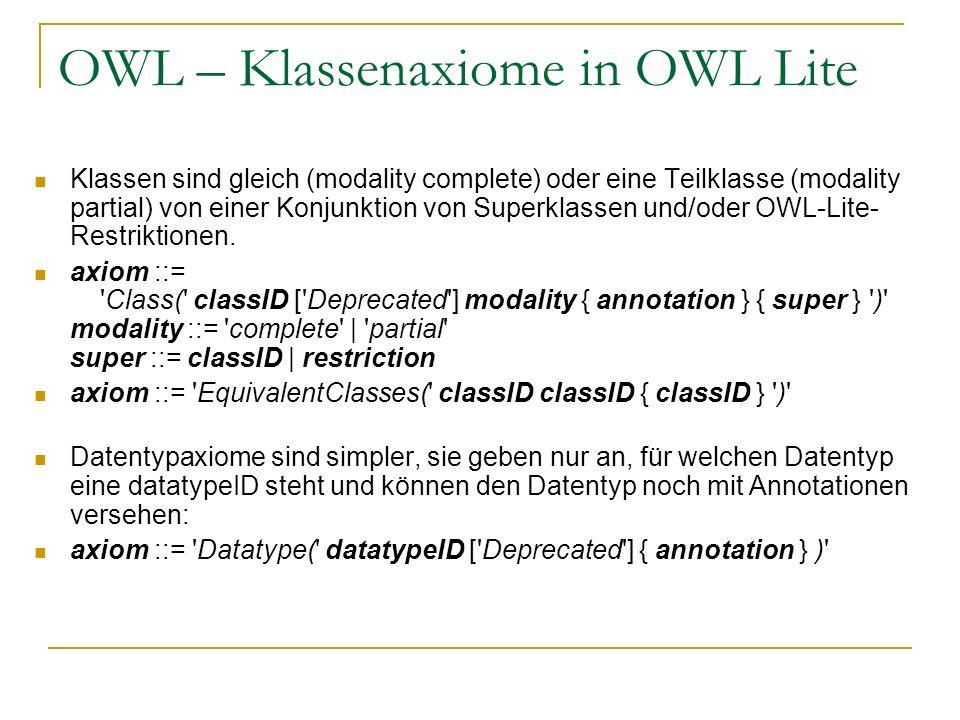 OWL – Klassenaxiome in OWL Lite