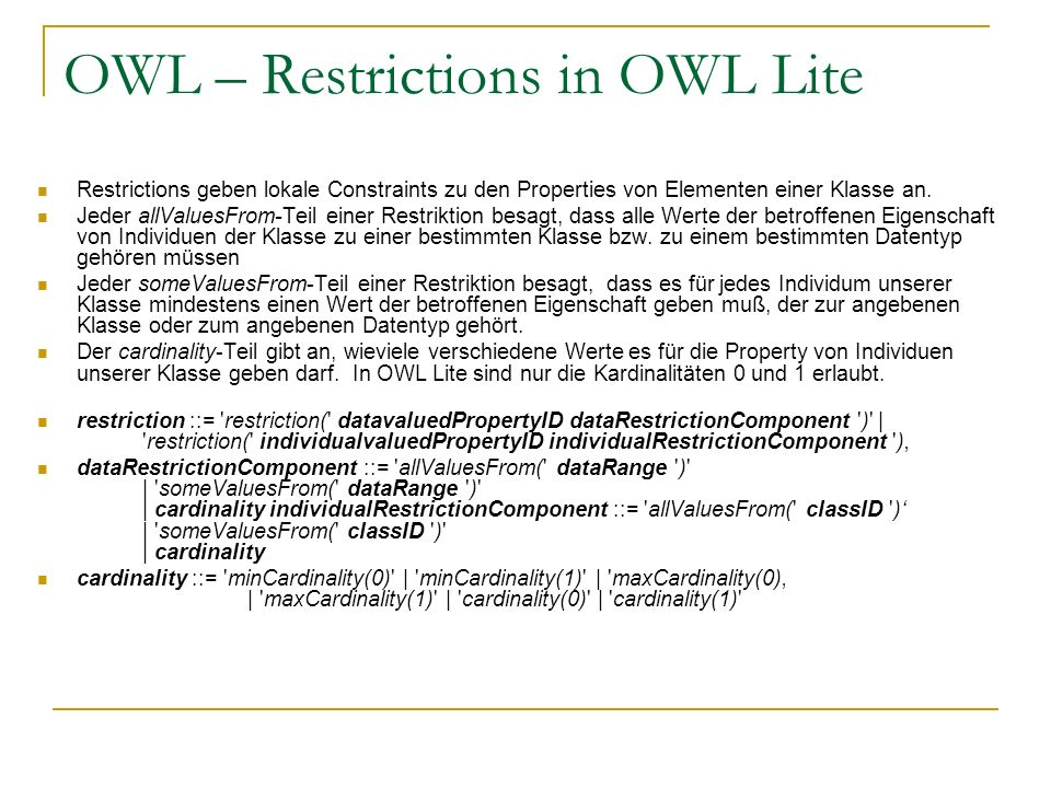OWL – Restrictions in OWL Lite