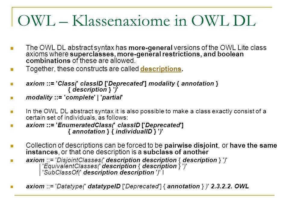 OWL – Klassenaxiome in OWL DL