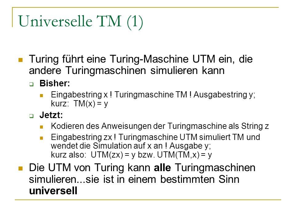 Universelle TM (1) Turing führt eine Turing-Maschine UTM ein, die andere Turingmaschinen simulieren kann.
