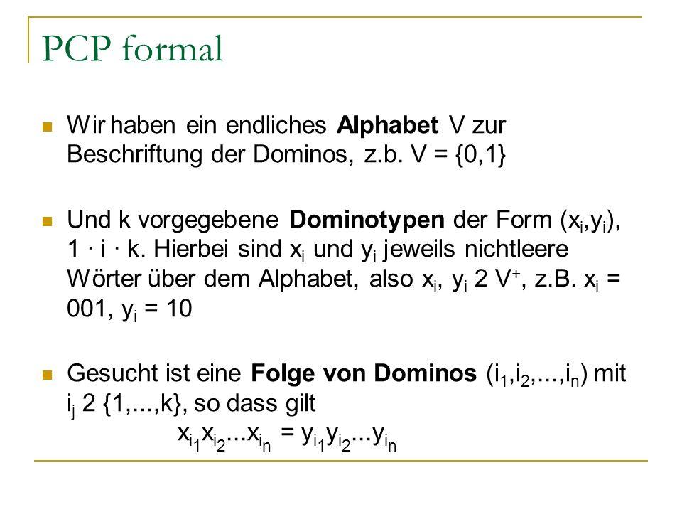 PCP formal Wir haben ein endliches Alphabet V zur Beschriftung der Dominos, z.b. V = {0,1}