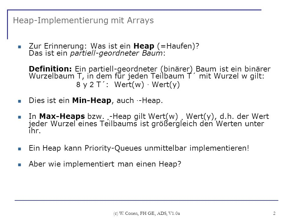 Heap-Implementierung mit Arrays