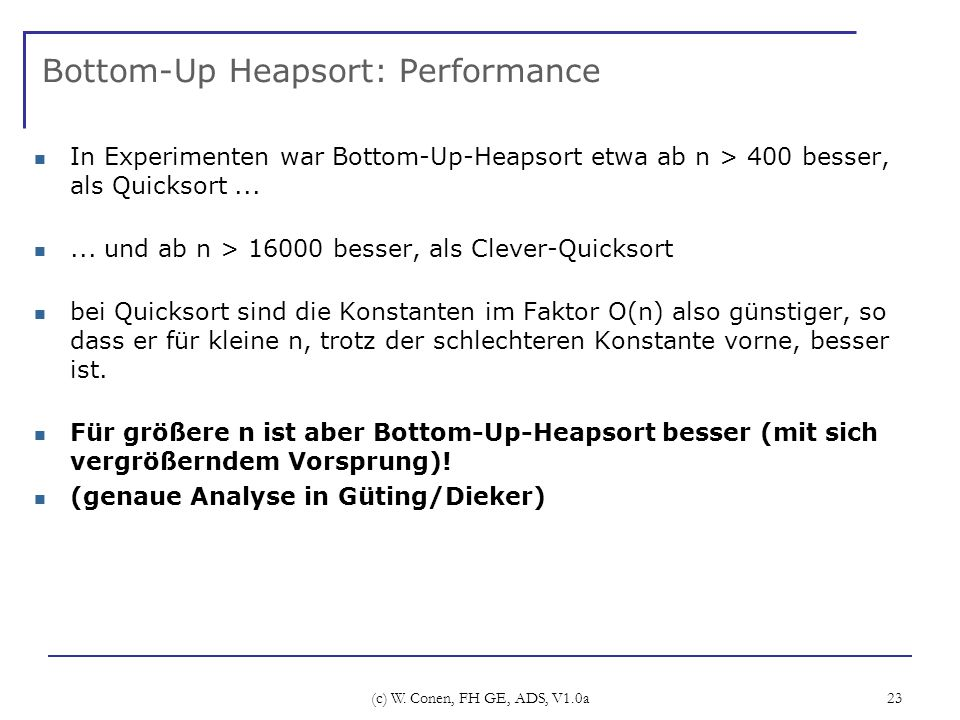 Bottom-Up Heapsort: Performance