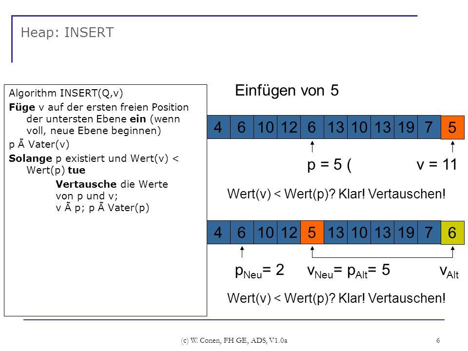Einfügen von 5 4 6 10 12 13 19 7 5 p = 5 ( v = 11 vAlt 4 6 10 12 5 13