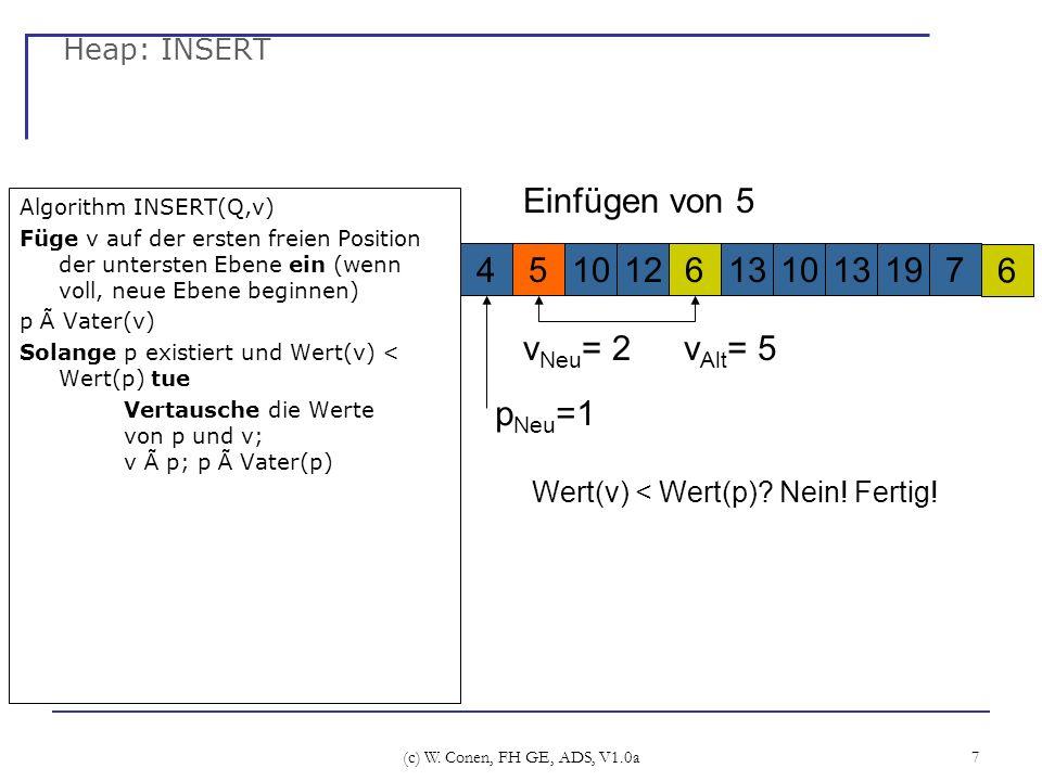 Einfügen von 5 4 5 10 12 6 13 10 13 19 7 6 pNeu=1 vAlt= 5 vNeu= 2