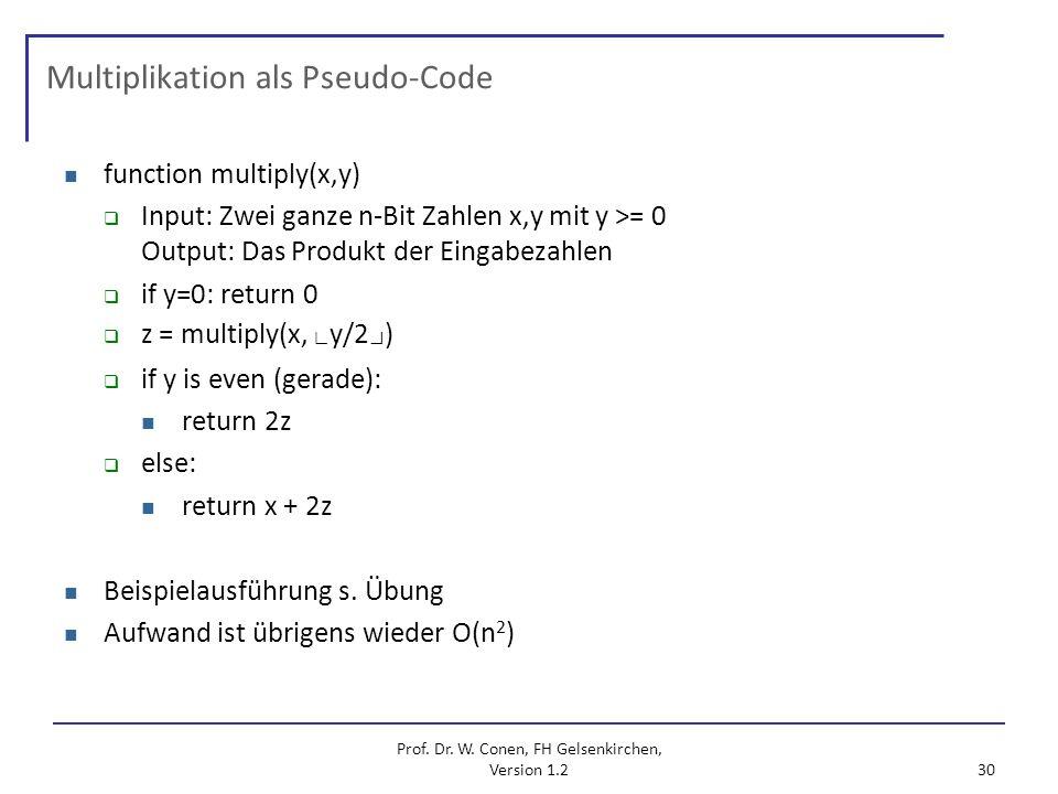 Multiplikation als Pseudo-Code