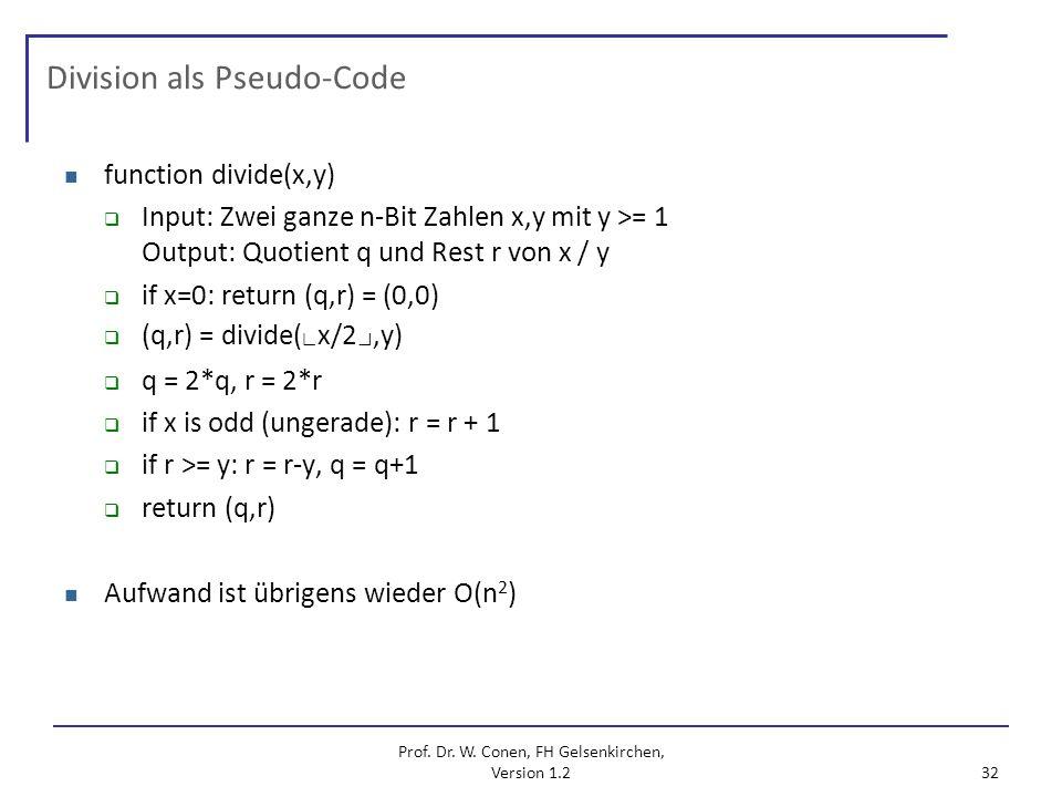 Division als Pseudo-Code