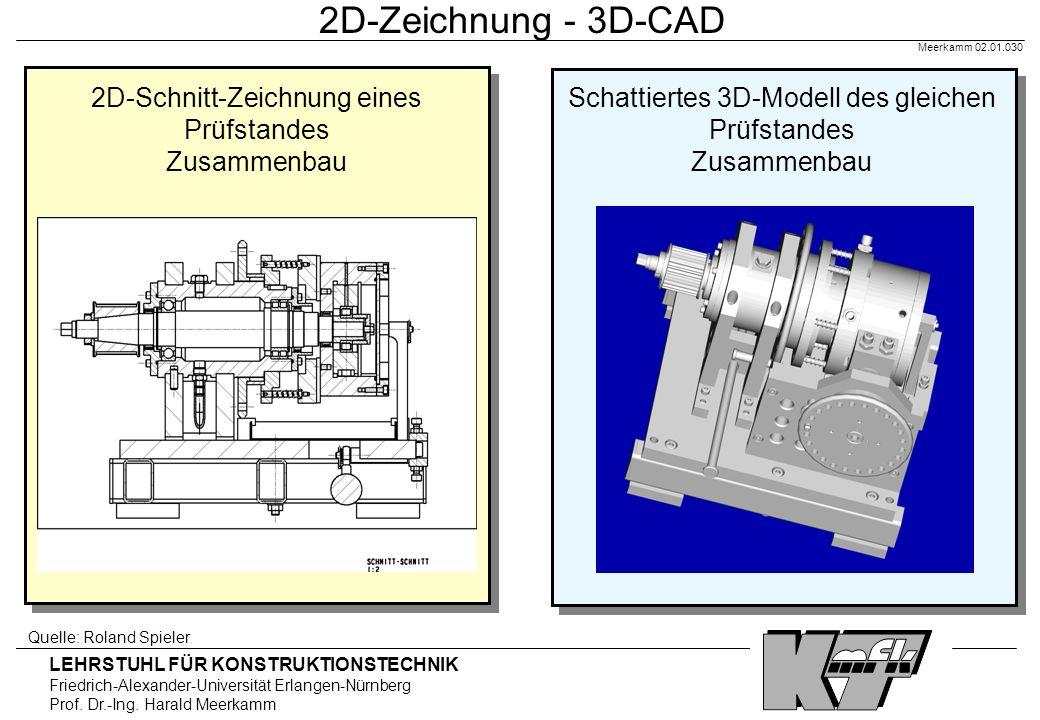 2D-Zeichnung - 3D-CAD Meerkamm 02.01.030. 2D-Schnitt-Zeichnung eines Prüfstandes Zusammenbau.