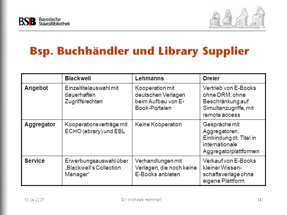 Bsp. Buchhändler und Library Supplier